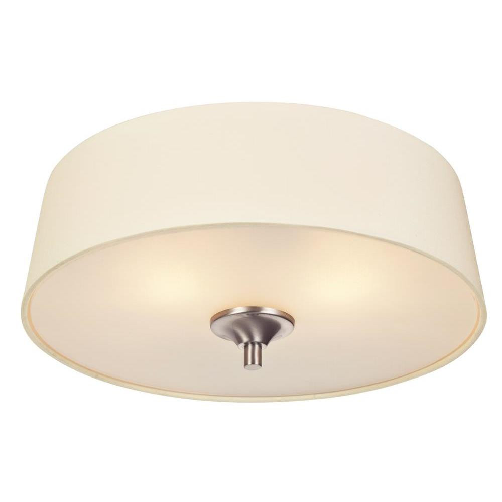 Westinghouse Parker Mews Two Light Interior Flush Mount Ceiling Fixture Brushed Nickel Finish