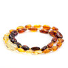 Polished rainbow beans amber teething & colic necklace