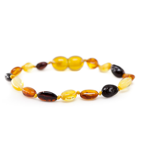 Polished multicolor bean beads amber teething anklet / bracelet