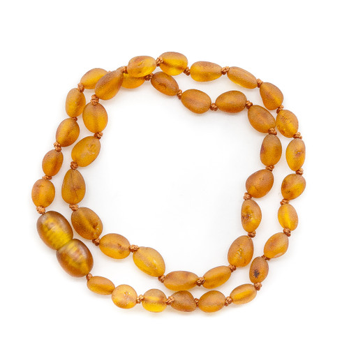 Maximum strength unpolished cognac bean beads amber teething & colic necklace