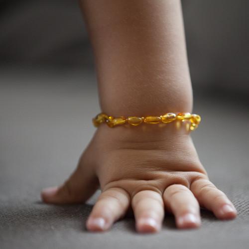 Polished honey bean beads amber teething anklet / bracelet