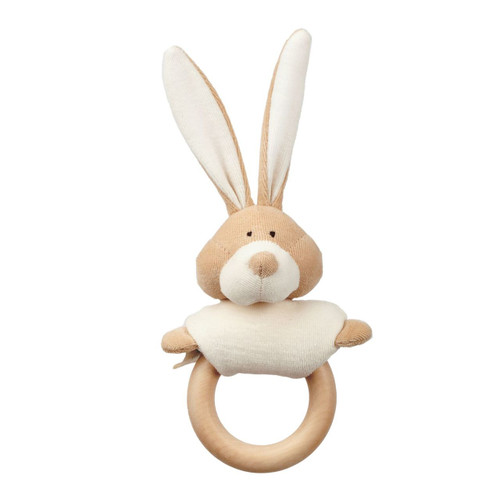 RATTLE WITH WOODEN TEETHER - BUNNY