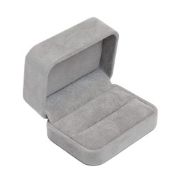 Round Corner Suede Ring Box for Two Rings