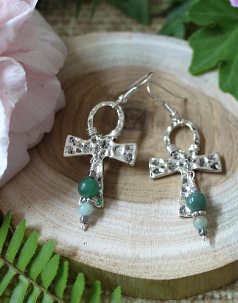 Hammered Cross Earrings