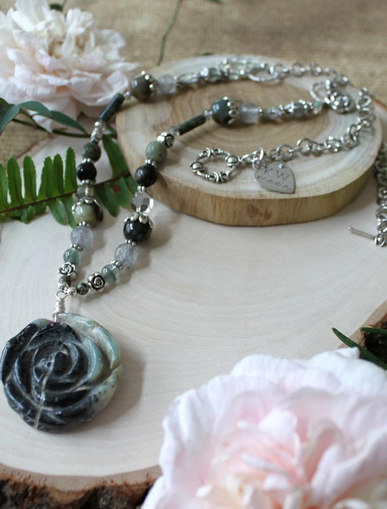 Carved Rose Necklace