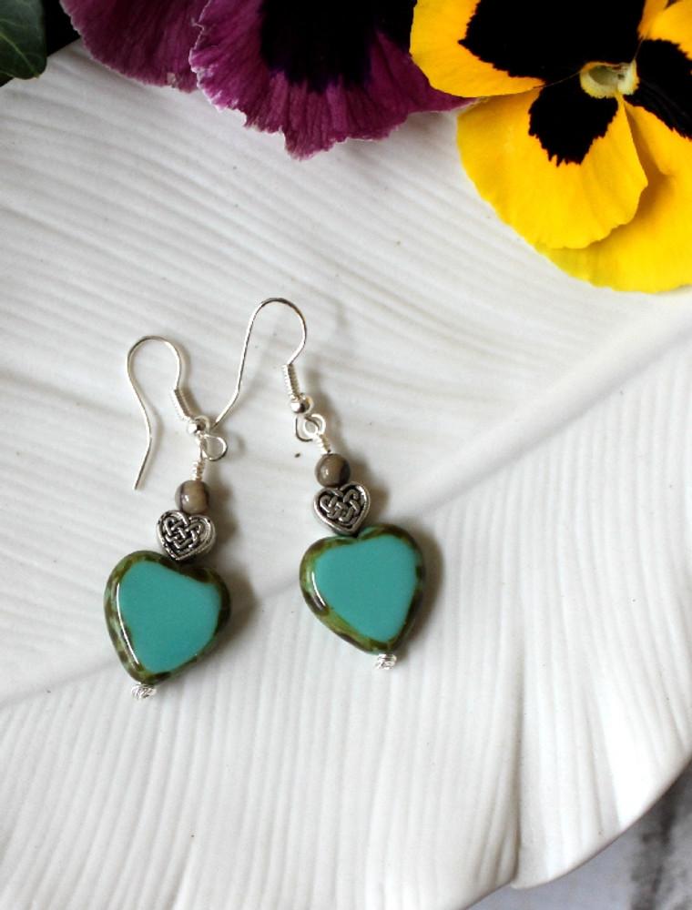 Czech Glass Heart Earrings