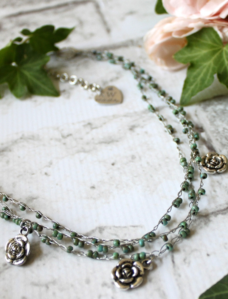 Crochet Wire Beaded Necklace