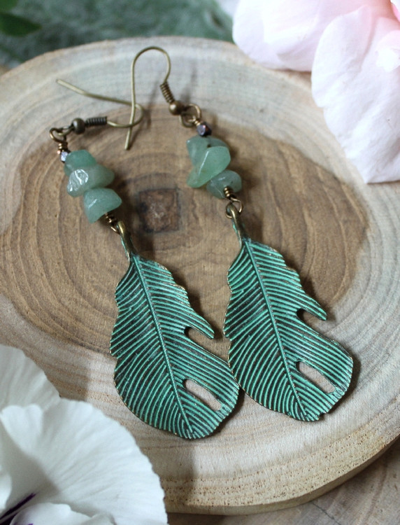 Verdigris Leaf Earrings