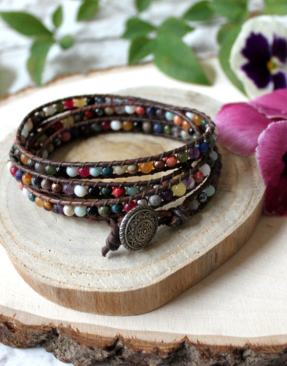 Leather Ladder Wrap Bracelet