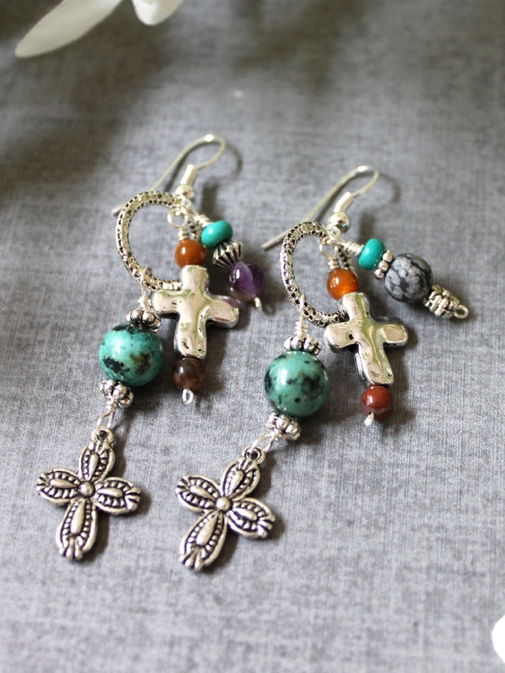 Cross Charm Dangle Earrings