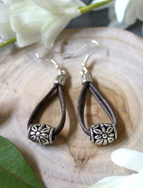 Double Loop Leather & Charm Earrings