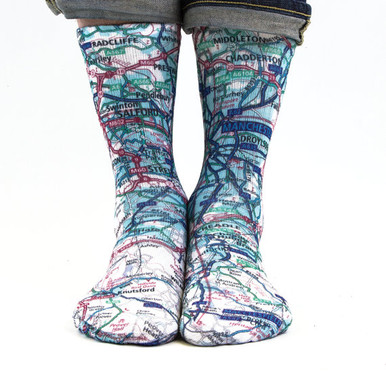 City Map Hand Printed Sublimation Socks