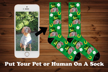 St. Patricks Day Photo Socks, Pet socks, Four leaf clover, Lucky charm, photo dog socks, Dog And Cat Photo Socks, Your Dog On A Sock
