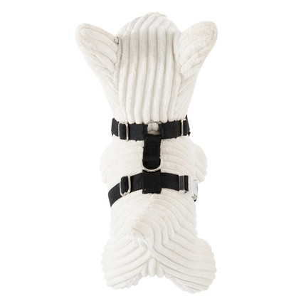 Harness with adjustable girth and neck.  For best fit measure the neck and around the stomach from behind the front legs.