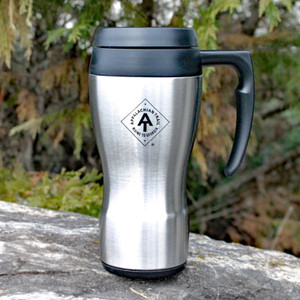A 16 ounce, stainless steel exterior commuter mug from Thermos with the ATC logo etched onto the side.