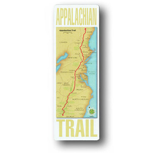 "The size of an official A.T. white blaze, 2"" x 6"", with the full-color map of the Trail's length."