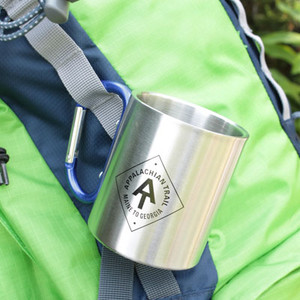8 ounce, stainless-steel mug that's double-wall insulated and bears the A.T. diamond.