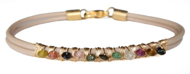 Nude Leather Bracelet with Multi-color Tourmaline