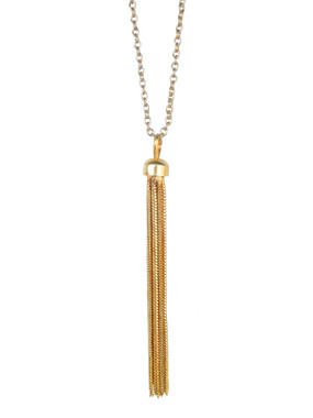 Gold Tassel Pendant Necklace