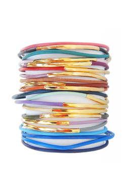 Vibrantly Colored Leather Cord Bangles