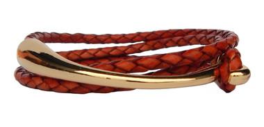 Double Wrap Antique Tan Leather Bracelet