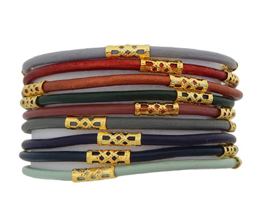 Set of 9 Leather Cord Bracelets in Soft Horizon Hues