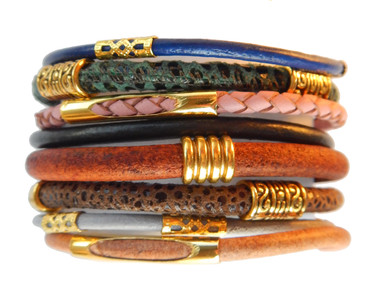 Multi-color Mixed Leather Bohemian Bracelets