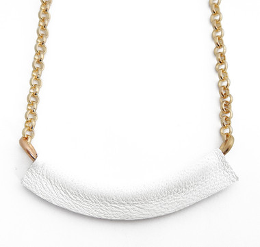 White Leather Bar Necklace