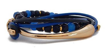 Tonal Blue Beaded Leather Wrap Bracelet