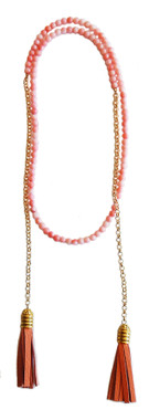 Coral beaded wrap necklace with leather tassels