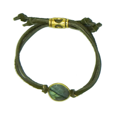 Olive leather and natural labradorite drawstring bracelet