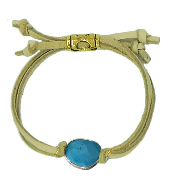Natural leather and turquoise drawstring bracelet