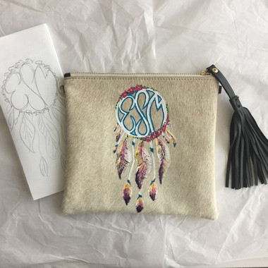 Dreamcatcher monogram crossbody clutch