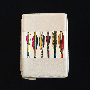 iPad case hand painted with wide stripe of arrow feathers