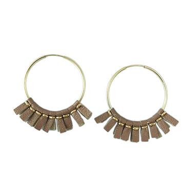 Rose gold leather medium size hoop earrings