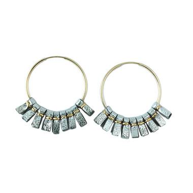 Metallic silver leather medium size hoop earrings