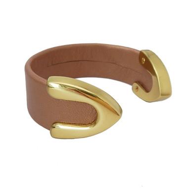 Rose gold leather cuff bracelet