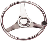Steering Wheel w/Knob, Stainless Steel, 15-1/2""