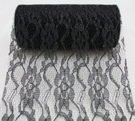 "6"" wide x 10 Yards Sparkle Floral Pattern Lace Fabric for Decorating, Floral Designing and Crafts (Black)"