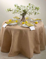 90-Inch Round Jute Burlap Round Table Overlay Table Cover - Natural. Made In USA.