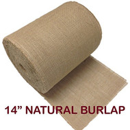 "AK Trading 14"" Natural Burlap Roll Fringed & Sewn Edges (100 yd)"