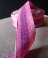 "AK-Trading 1.5"" Inches X 10 Yards Vintage Cloth Striped Ribbon (Pink)"