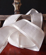 "AK-Trading 1.5"" x 25 Yards Faux Linen Ribbon with Satin Edge - Select From 3 Sizes and 14 Colors (Ivory)"