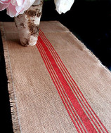 "AK-Trading 12.5"" Inches X 108 Inches Burlap Table Runner with Stripes (Red)"