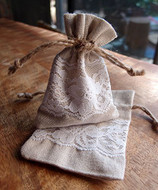 "AK-Trading 3"" x 4"" Linen Favor Pouch Gift Bag with Lace Decor - Pack of 12"