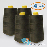 AK-Trading 4-Pack BROWN Serger Cone Thread (6000 yards each) of Polyester thread for Sewing, Quilting, Serger #697