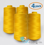 AK-Trading 4-Pack GOLD Serger Cone Thread (6000 yards each) of Polyester thread for Sewing, Quilting, Serger #929