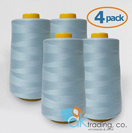 AK-Trading 4-Pack LIGHT BLUE Serger Cone Thread (6000 yards each) of Polyester thread for Sewing, Quilting, Serger #780