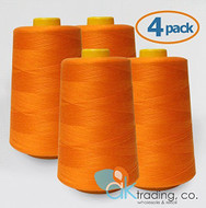 AK-Trading 4-Pack ORANGE Serger Cone Thread (6000 yards each) of Polyester thread for Sewing, Quilting, Serger #718