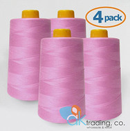 AK-Trading 4-Pack ROSE PINK Serger Cone Thread (6000 yards each) of Polyester thread for Sewing, Quilting, Serger #837